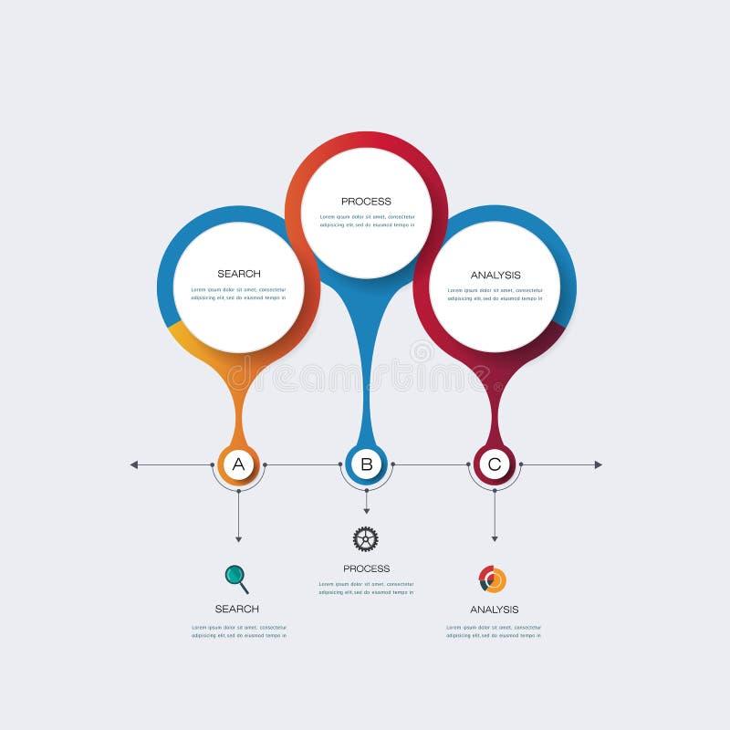 Vector het ontwerpmalplaatje van de infographicschronologie vector illustratie