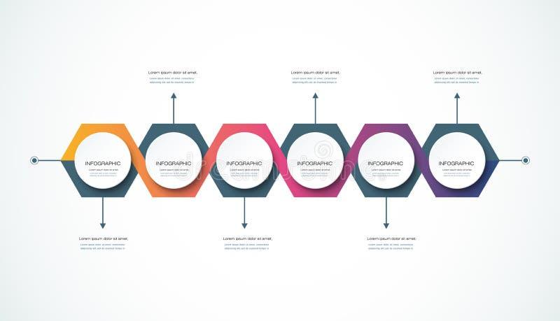 Vector het ontwerpmalplaatje van de infographicschronologie royalty-vrije illustratie