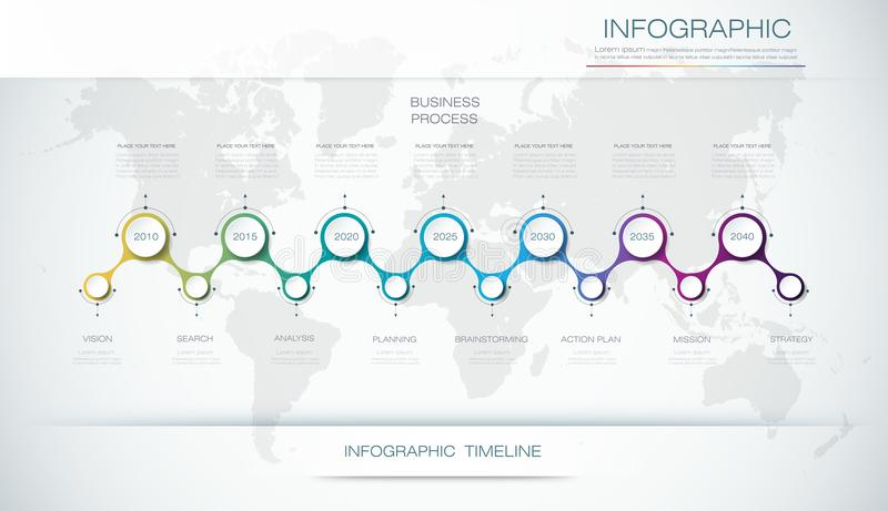 Vector het ontwerpmalplaatje van de infographicschronologie met 3D document etiket en grafiek 7 stappenopties stock illustratie