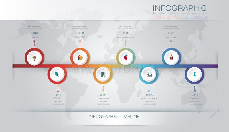 Vector het ontwerpmalplaatje van de infographicschronologie met 3D document etiket en grafiek 8 stappenopties royalty-vrije illustratie