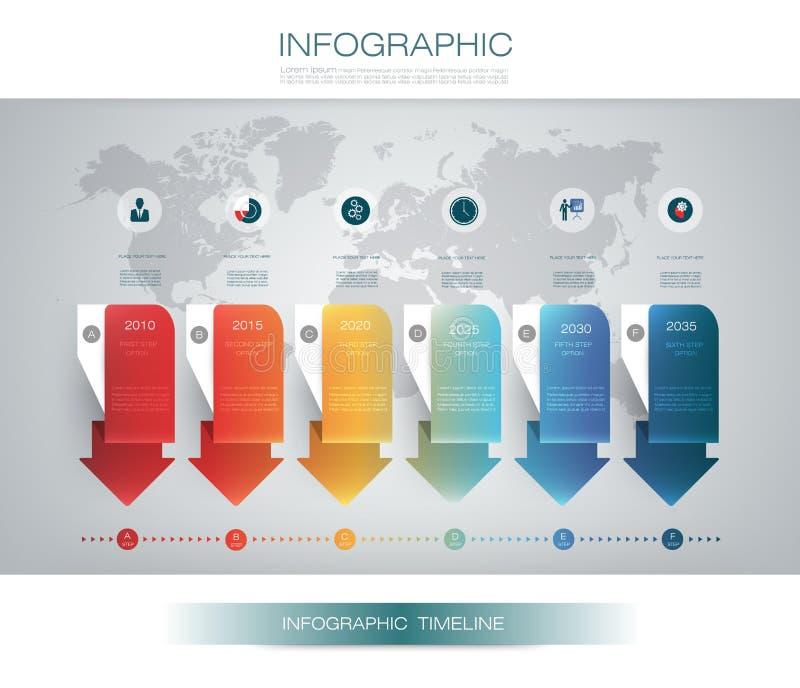 Vector het ontwerpmalplaatje van de infographicschronologie met 3D document etiket en grafiek 6 stappenopties stock illustratie