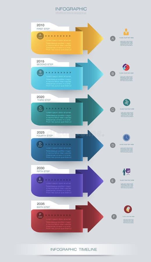 Vector het ontwerpmalplaatje van de infographicschronologie met 3D document etiket en grafiek 6 stappenopties vector illustratie