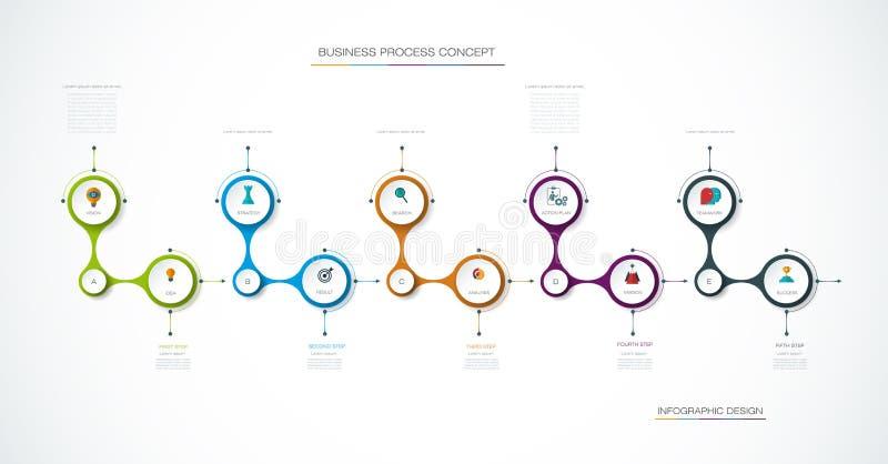 Vector het ontwerpmalplaatje van de infographicschronologie met 3D document etiket, geïntegreerde cirkelsachtergrond stock illustratie