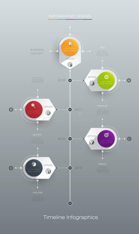 Vector het ontwerpmalplaatje van de infographicschronologie met etiketontwerp royalty-vrije illustratie
