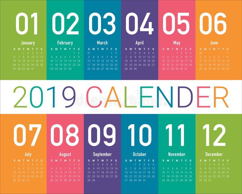 Vector het ontwerpmalplaatje van de jaar 2019 kalender royalty-vrije illustratie