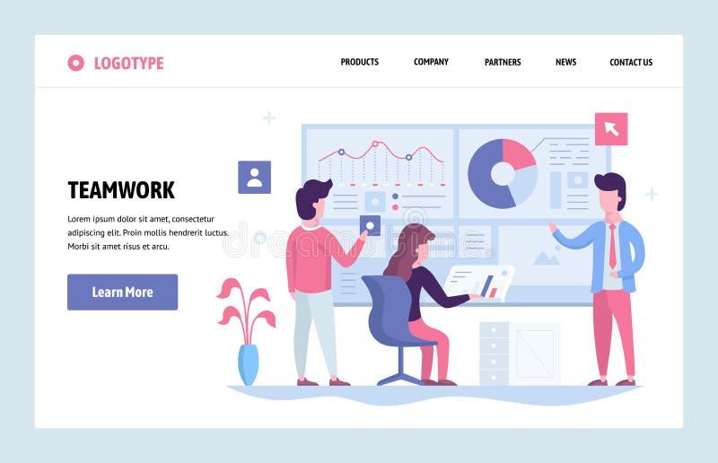Vector het ontwerpmalplaatje van de website lineair kunst Commercieel team die samen met financiëndashboard werken in bureau land stock illustratie