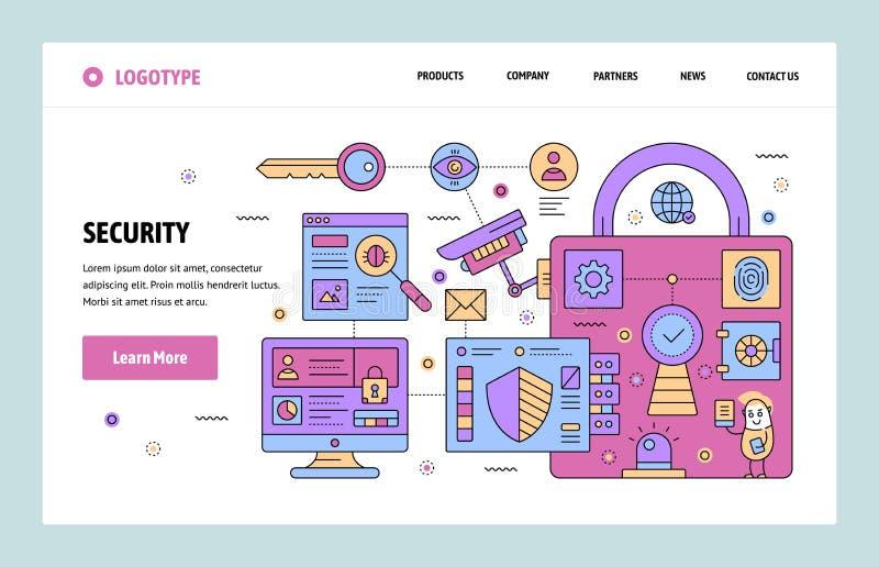 Vector het ontwerpmalplaatje van de website lineair kunst Cyberveiligheid en toezicht Het landen paginaconcepten voor website en stock illustratie