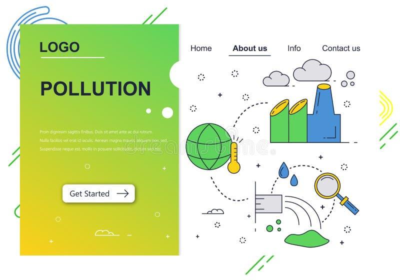 Vector het ontwerpmalplaatje van de website lineair kunst Lucht en watervervuiling De problemen van het ecologiemilieu Het landen stock illustratie