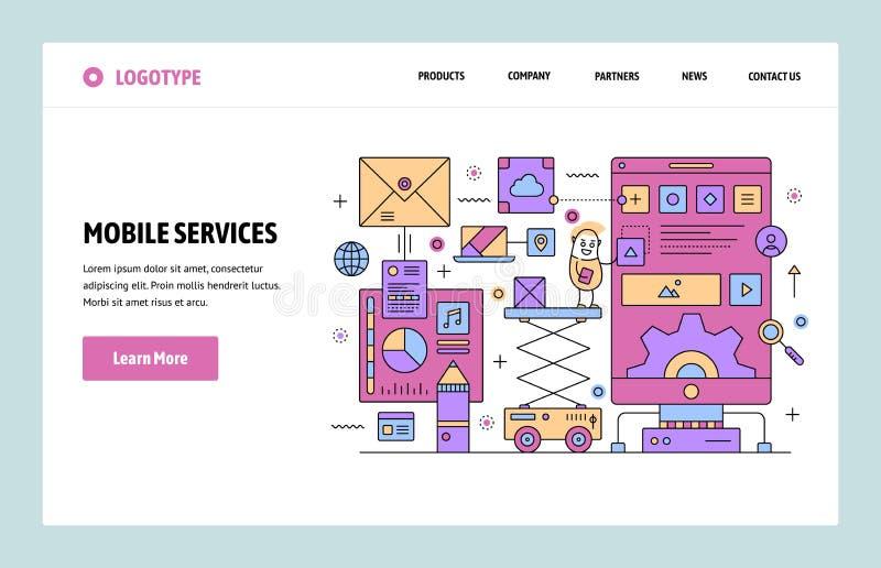 Vector het ontwerpmalplaatje van de website lineair kunst De mobiele telefoondiensten en smartphonetoepassingen Het landen pagina royalty-vrije illustratie