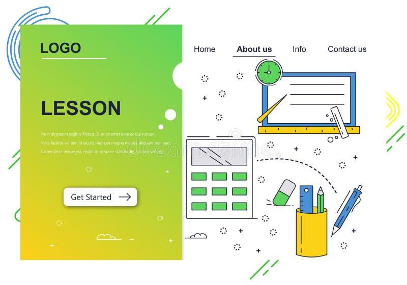 Vector het ontwerpmalplaatje van de website lineair kunst Schoolonderwijs, kennis, toebehoren Het landen paginaconcepten voor web vector illustratie