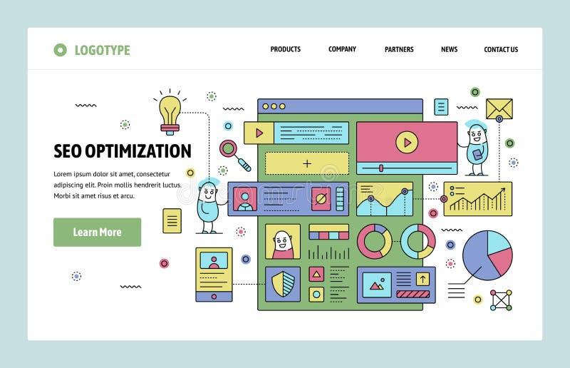 Vector het ontwerpmalplaatje van de website lineair kunst SEO-zoekmachinesoptimalisering en inhoud marketing Het landen paginacon stock illustratie