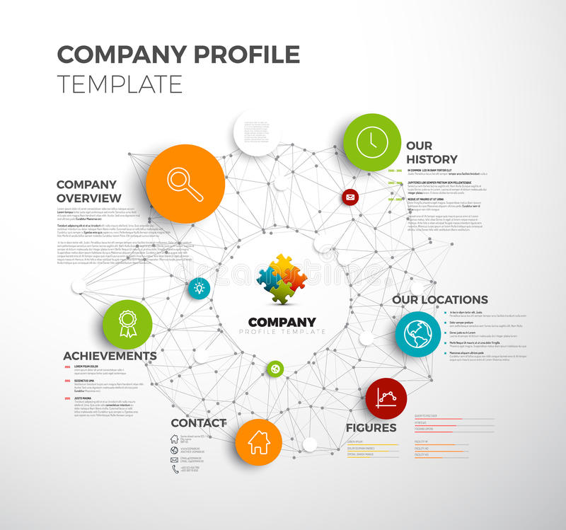 Vector het ontwerpmalplaatje van het bedrijf infographic for Information technology company profile template