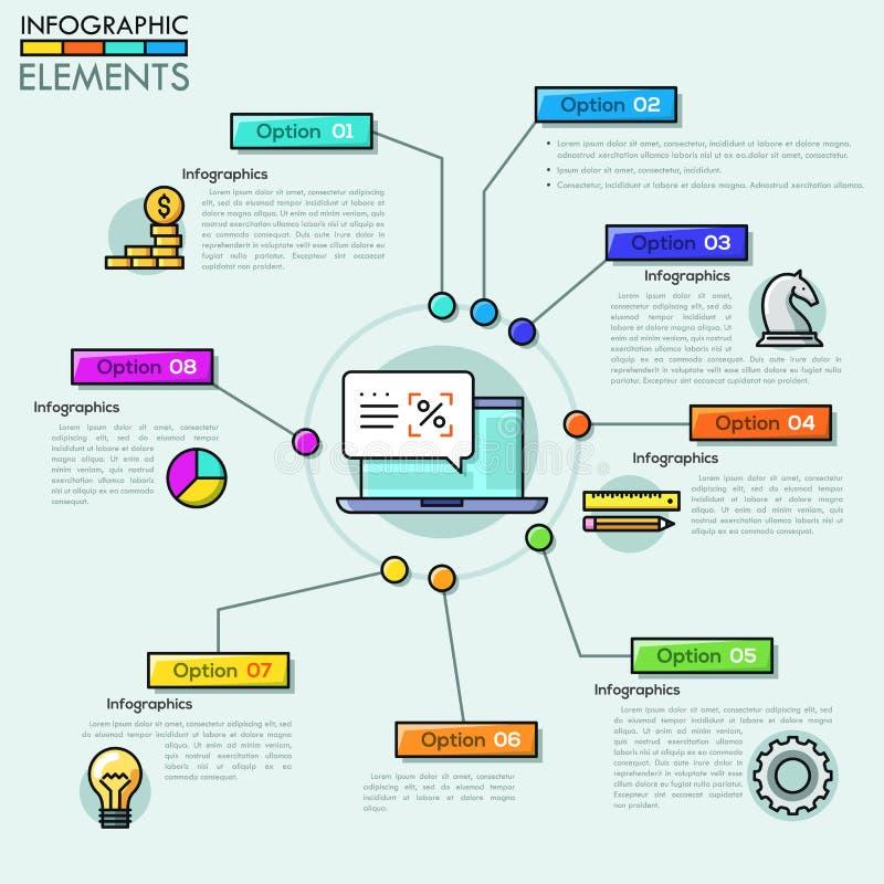 Vector het ontwerpmalplaatje van het Bedrijf infographic overzicht in dunne lijnstijl vector illustratie