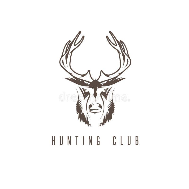Vector het ontwerpmalplaatje van het de jacht uitstekend embleem met herten stock illustratie