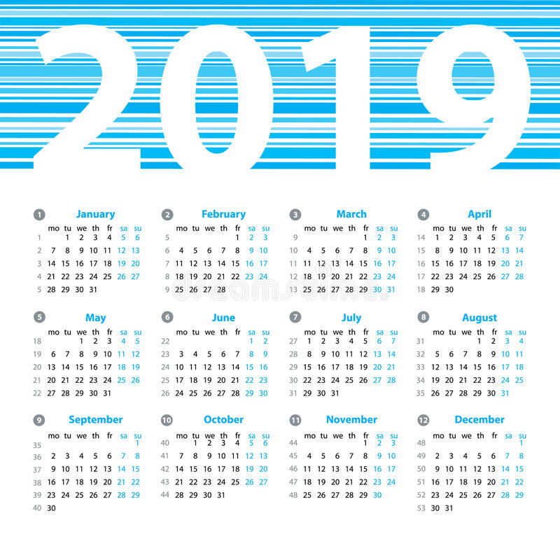 Vector het ontwerpmalplaatje van het kalender 2019 jaar vector illustratie afbeelding 74107862 - Het upgraden van m ...