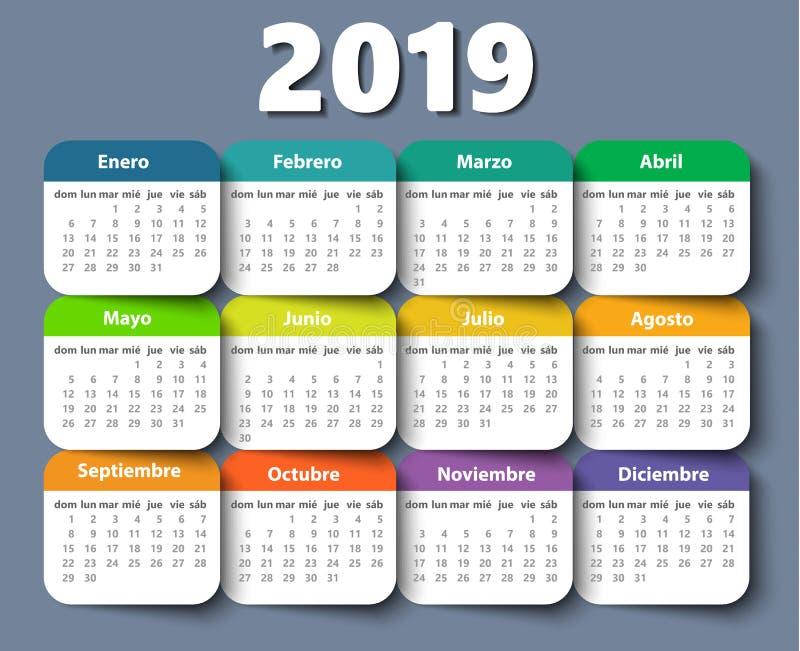 Vector het ontwerpmalplaatje van het kalender 2018 jaar in het Spaans royalty-vrije illustratie