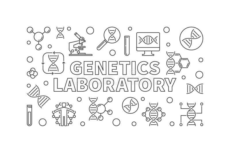 Vector het overzichts horizontale banner van het geneticalaboratorium royalty-vrije illustratie