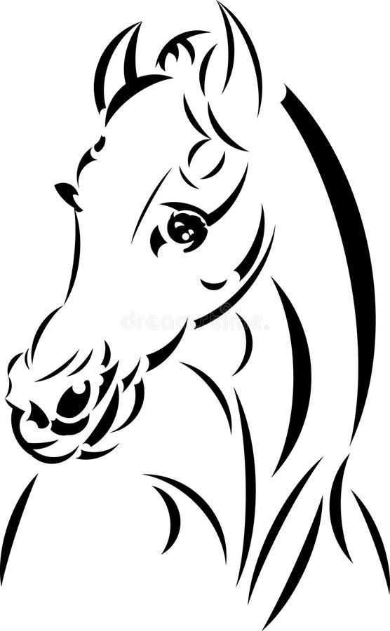 Vector het paardhoofd van de tatoegeringsstijl. royalty-vrije stock afbeeldingen