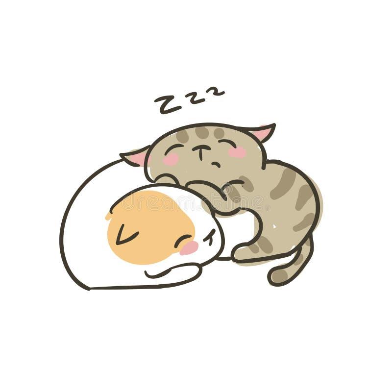 Vector het paarslaap van de krabbel de leuke dromen van weinig kat stock illustratie