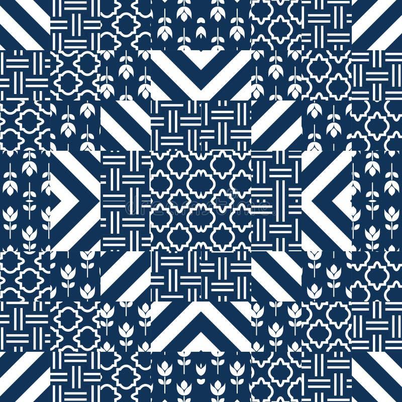 Vector het patroontegels van het lapwerkdekbed stock illustratie