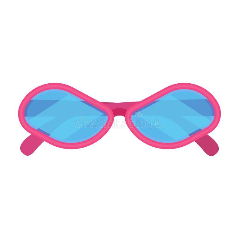 Vector het pictogram bijkomend roze kader van de Sunglassmanier De geïsoleerde de beschermingszomer van de ooglens Beeldverhaal h stock illustratie