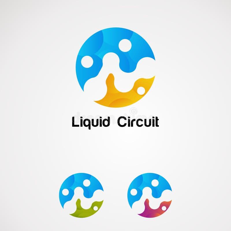 Vector, het pictogram, het element, en het malplaatje van het cirkel de kleurrijke vloeibare embleem voor bedrijf stock illustratie