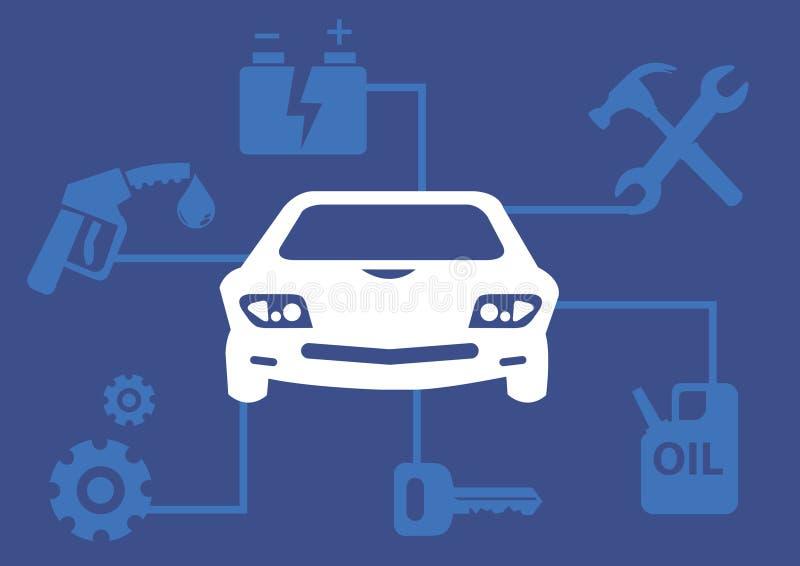 Vector het Pictogramillustratie van Infographic van de Motorvoertuigdienst vector illustratie