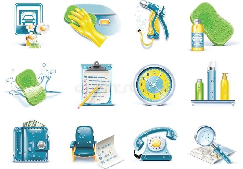 Vector het pictogramreeks van de autowasserettedienst royalty-vrije illustratie