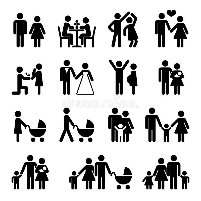Vector het pictogramreeks van de mensenfamilie Liefde en het leven vector illustratie