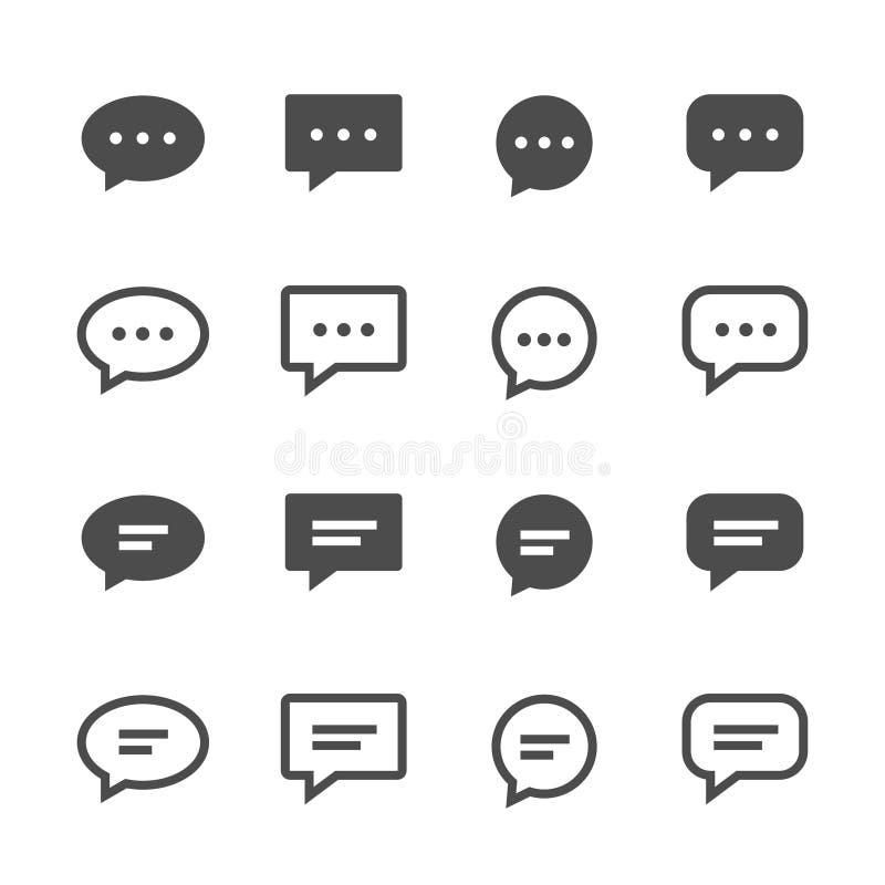 Vector het pictogramreeks van de praatjebel royalty-vrije illustratie
