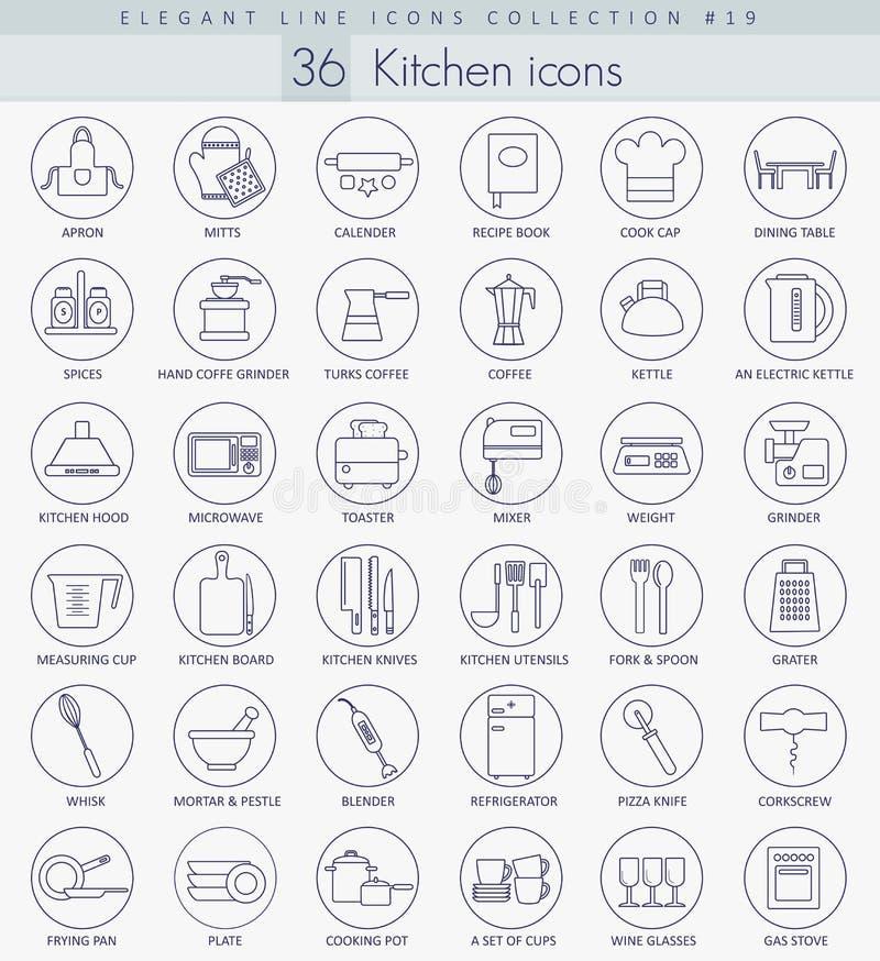 Vector het pictogramreeks van het keukenoverzicht Het elegante Dunne ontwerp van de lijnstijl stock illustratie