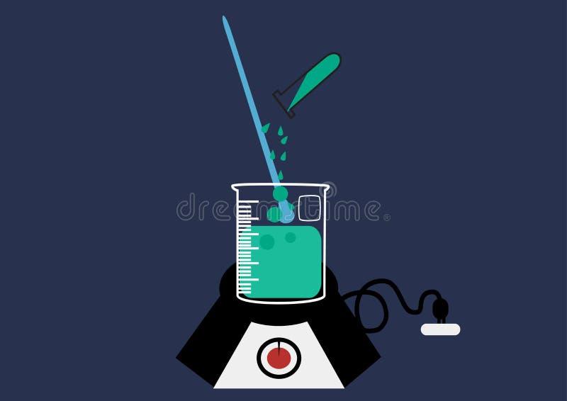 Vector het Pictogramreeks van het wetenschapslaboratorium, chemische geplaatste pictogrammen, Chemisch Laboratorium, chemisch gla stock illustratie