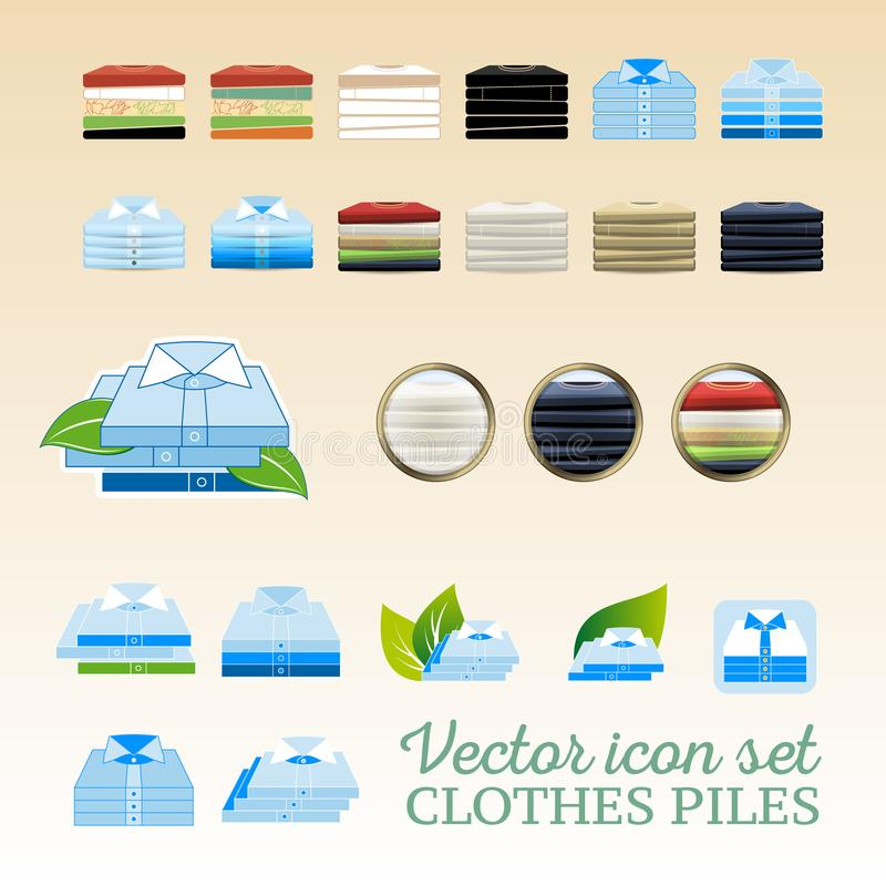 Vector het pictogramreeks van klerenstapels stock illustratie