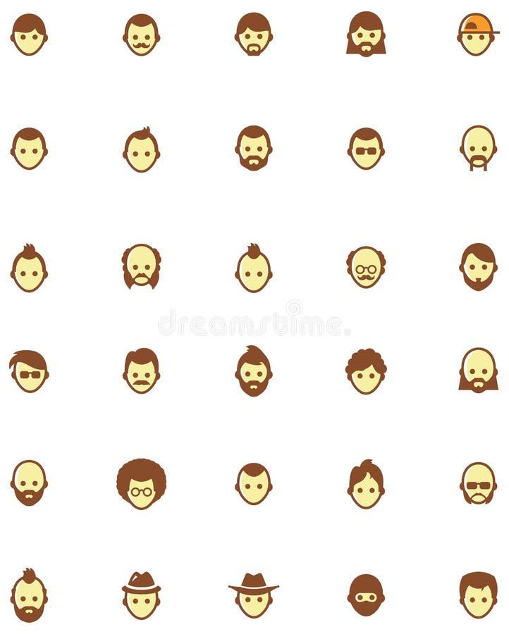 Vector het pictogramreeks van mensengezichten royalty-vrije illustratie