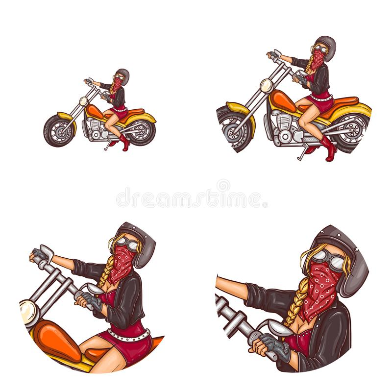 Vector het pop-artavatar van het fietser sexy meisje pictogrammen royalty-vrije illustratie