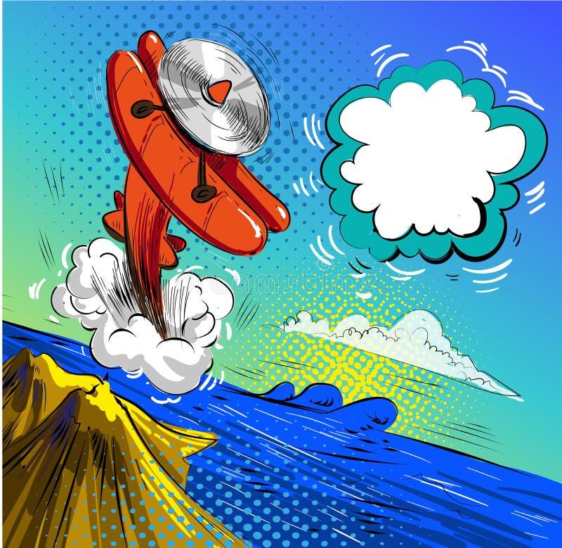 Vector het pop-artillustratie van de vliegtuigneerstorting stock illustratie