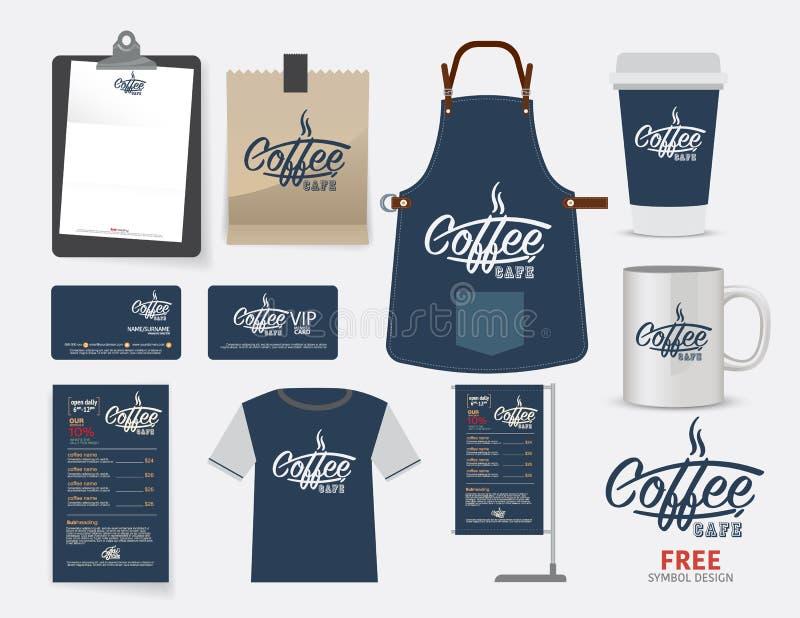 Vector het restaurantreeks, T-shirt, menu, namecard en F van de koffiekoffie stock illustratie