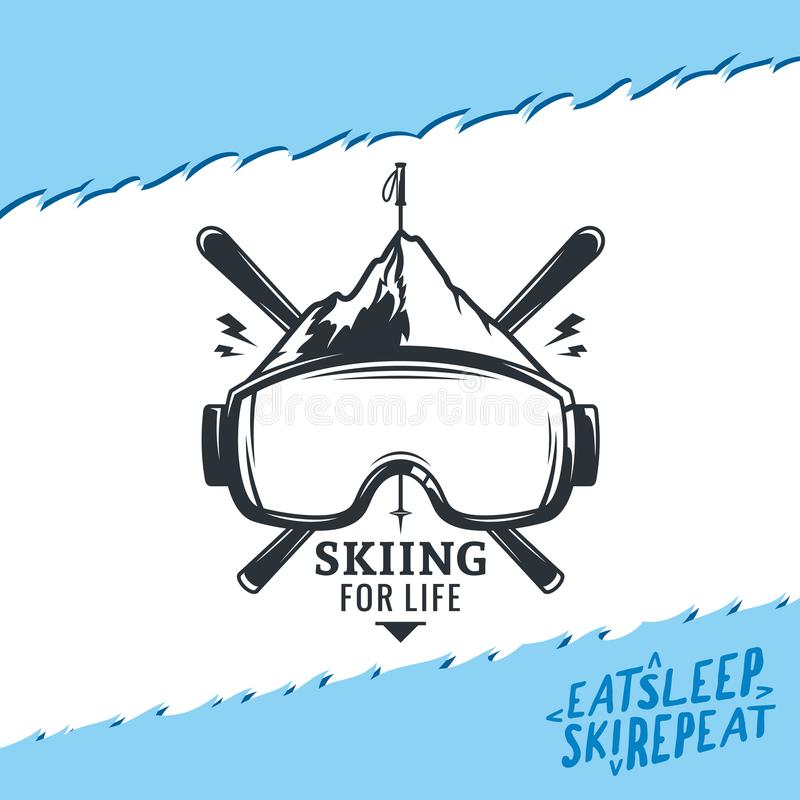 Vector het ski?en embleem stock illustratie