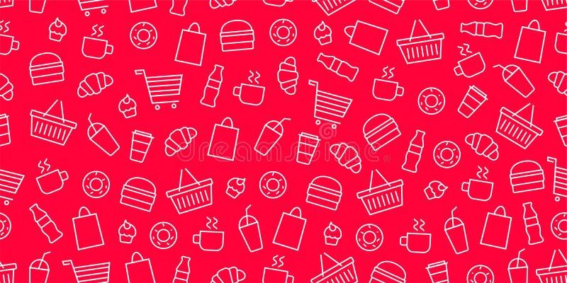 Vector het snelle voedselpatroon van de supermarktwinkel Voedsel en goederen naadloze rode achtergrond stock illustratie