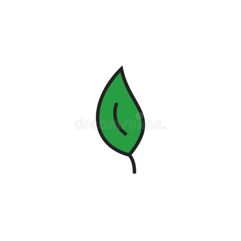Vector, het Symbool of het Embleem van het blad de Vlakke Pictogram stock illustratie