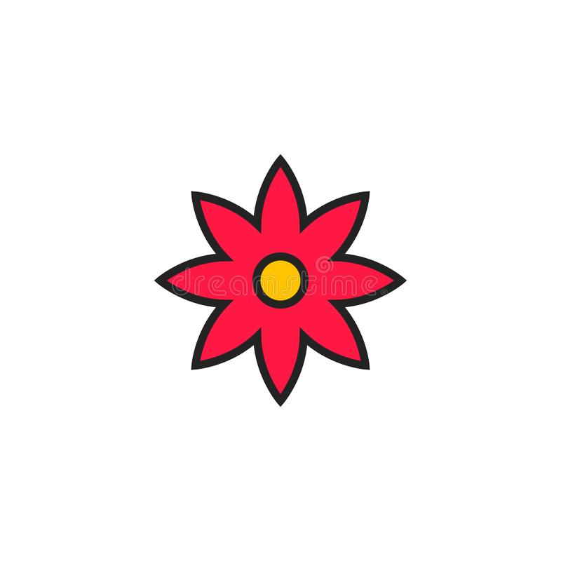 Vector, het Symbool of het Embleem van het bloem de Vlakke Pictogram vector illustratie