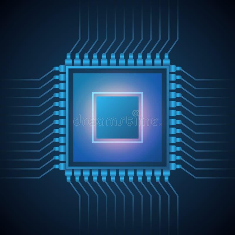 Vector het systeemspaander van de Computercpu bewerker Abstracte gegevensstroom in Kernmicrochip De illustratie van de voorraad stock illustratie