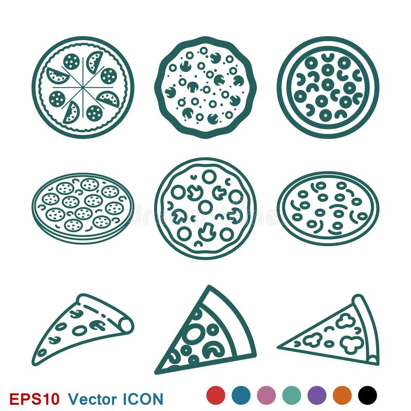 Vector het tekensymbool van het pizzapictogram voor ontwerp stock fotografie
