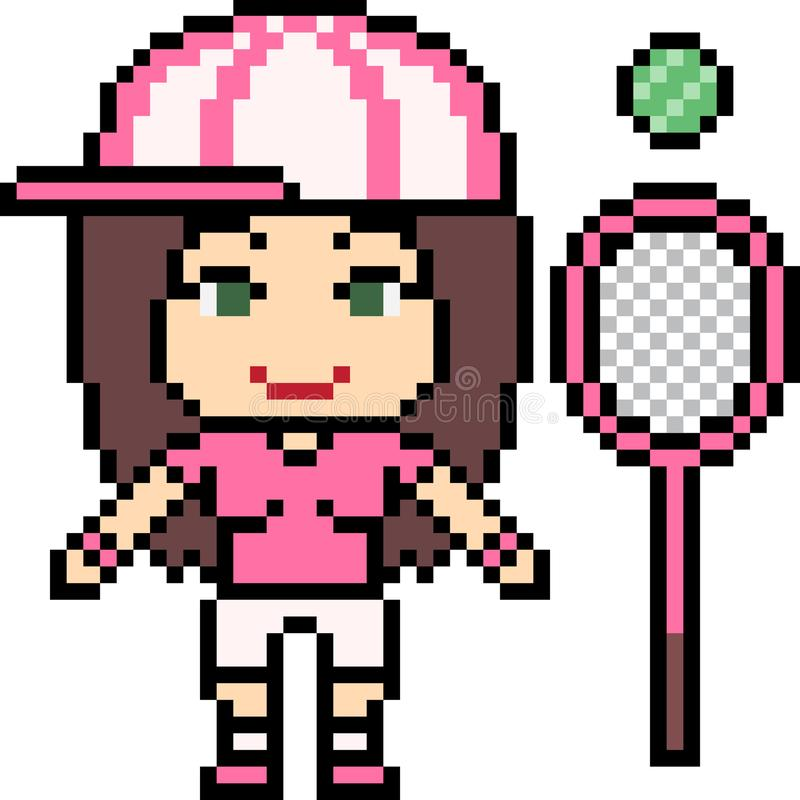 Vector het tennismeisje van de pixelkunst vector illustratie