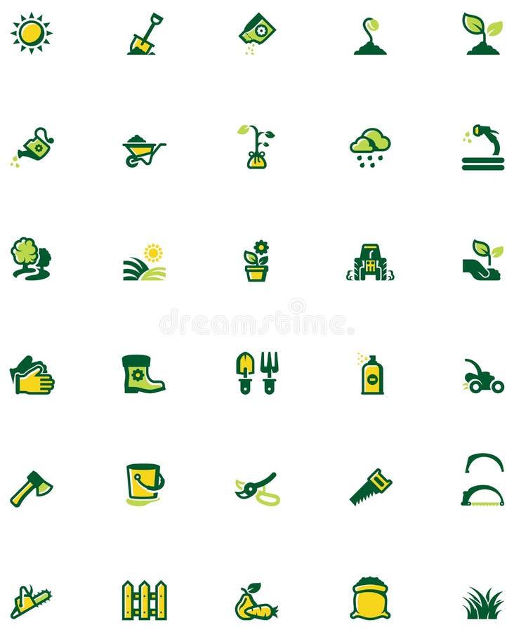 Vector het tuinieren pictogramreeks stock illustratie