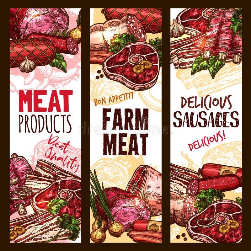 Vector het van het schetsvlees landbouwproduct banners vector illustratie