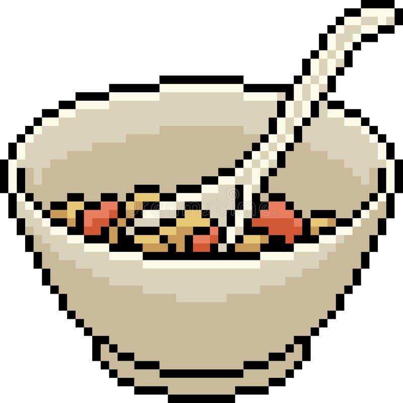 Vector het voedselkom van de pixelkunst stock illustratie