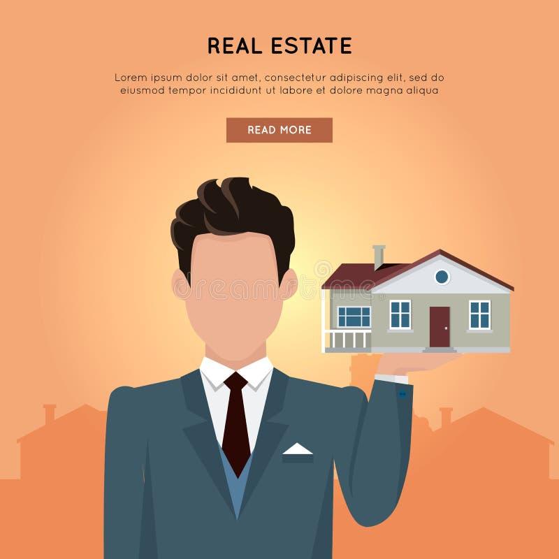Vector het Webbanner van Real Estate in Vlak Ontwerp royalty-vrije illustratie