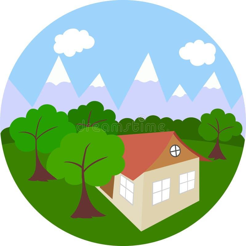Vector het werk` Uitlopers ` Bergen, bomen en huis stock illustratie
