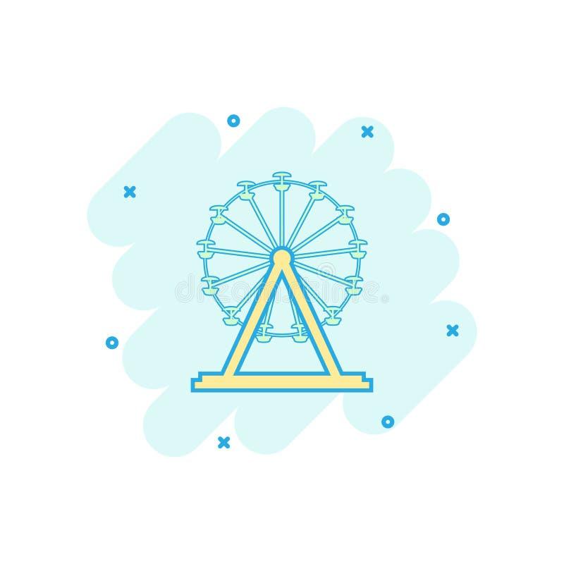 Vector het wielpictogram van beeldverhaalferris in grappige stijl Carrousel in pari royalty-vrije illustratie